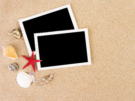 Pictures in a beach concept. Vacation memories.  Stock Photo - 3185018