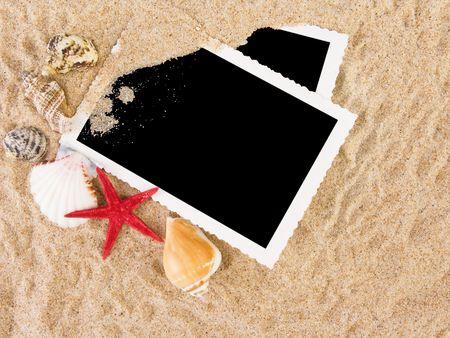 Immagini in una spiaggia concetto. Appartamenti di ricordi.