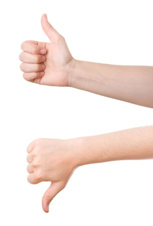 Thumbs updown. Concept for agreement, positive, great...rn