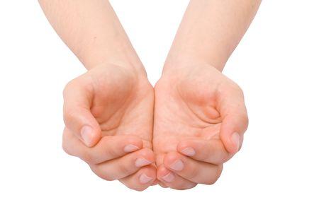 manos abiertas: Abrir las manos. La celebraci�n, la mendicidad, dando, mostrando concepto.  Foto de archivo