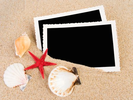 Pictures in a beach concept. Vacation memories. photo