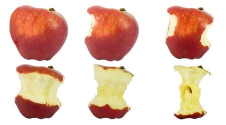 bitten: Sequence of an apple being eaten isolated on white background Stock Photo