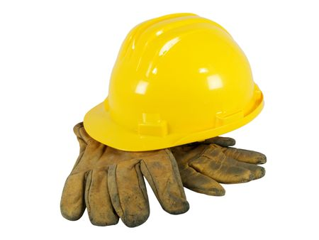 Yellow hardhat and old leather gloves isolated on white background Stock Photo - 3251418