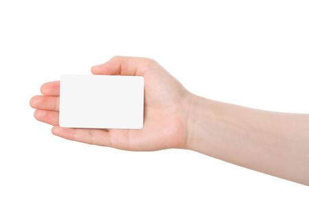 Hand holding a business card isolated on white background photo