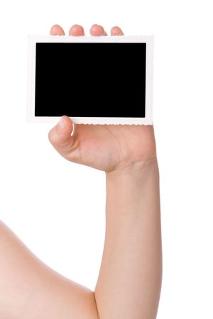 Hand holding a photograph isolated on a white background Stock Photo - 3251411