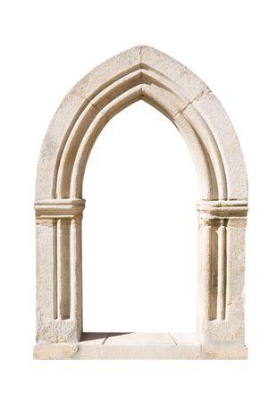 arcos de piedra: Original gótico puerta aislada sobre fondo blanco Foto de archivo