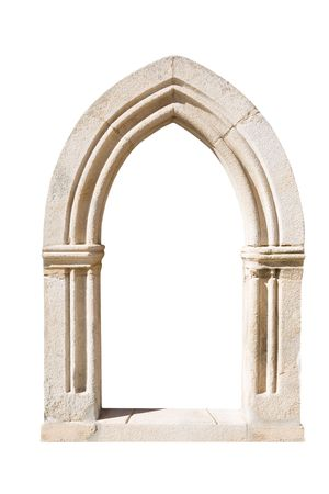 Original gothic door isolated on white background