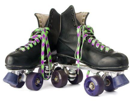 pat�n: Retro patines aisladas sobre fondo blanco Foto de archivo