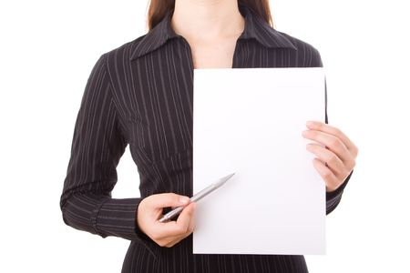 Elegant businesswoman holding a white paper during a presentation  photo