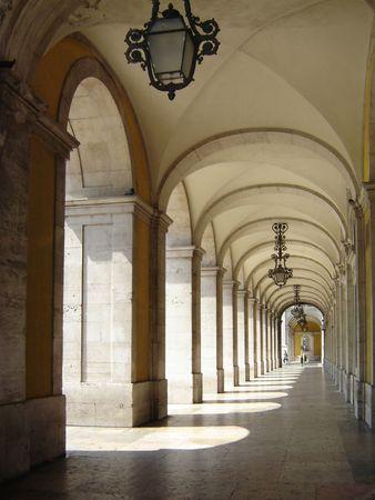 18th: Commerce Square 18th century Arcades in Lisbon, Portugal