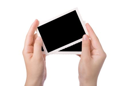 Hand holding a photograph isolated on a white background  Stock Photo - 3342755