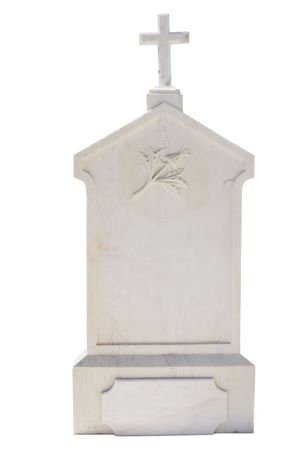 empty tomb: Christian blank gravestone isolated on white background Stock Photo