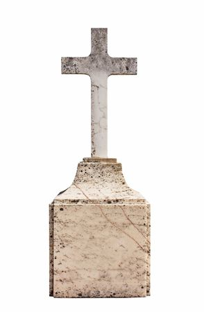 tomb empty: Christian blank gravestone isolated on white background