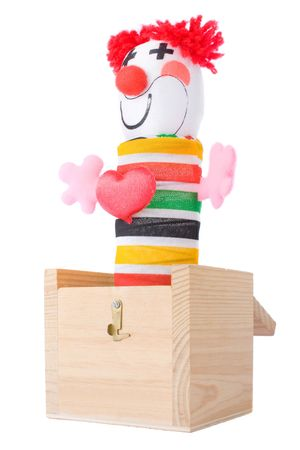 Jack-in-the-box toy isolated on a white background  photo