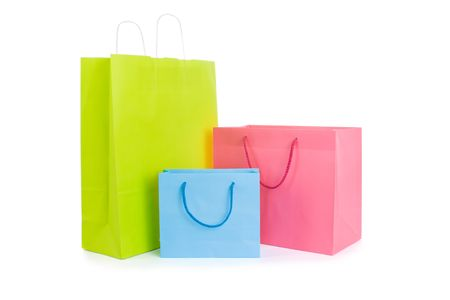 shopping bags: Set of various shopping bags isolated on white Stock Photo
