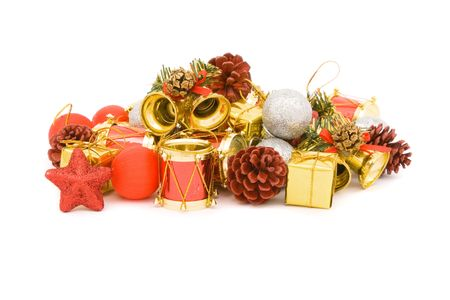 Various ornament for the Christmas isolated on white photo