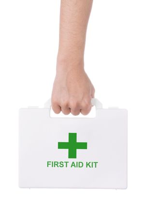 Hand holding a first aid kit isolated on white background  photo