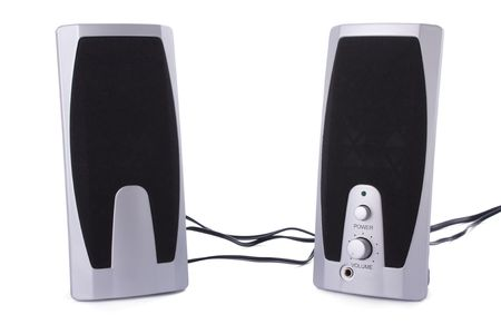 Small computer speakers isolated on a white background photo