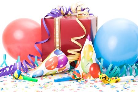 Gift, party hats, horns or whistles, confettis and balloons on white background