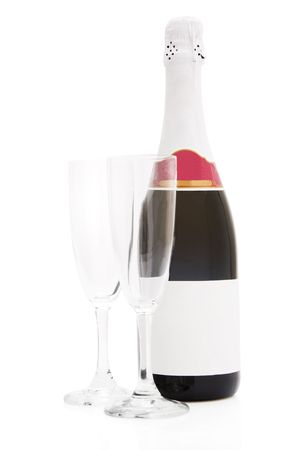 Champagne bottle and a pair of flutes photo