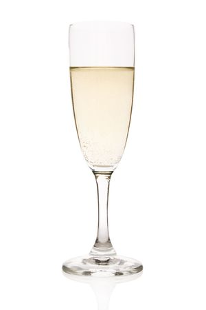 effervescence: Flute with sparkling champagne isolated on white