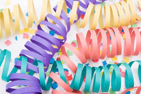 Several colourful party paper ribbons and confetti Stock Photo - 3873756