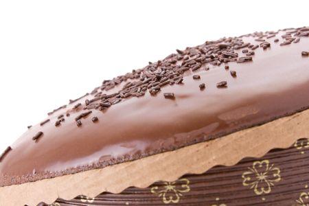 jimmies: Chocolate fudge cake with sprinkles detail on white