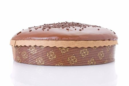 jimmies: Chocolate fudge cake isolated on white background