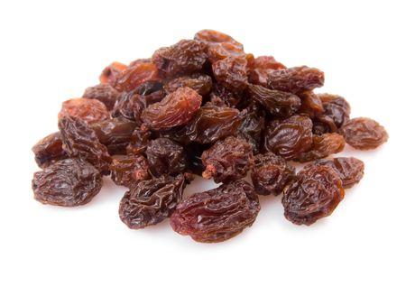 Pile of raisins isolated on white background  photo