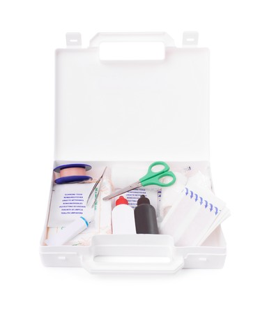 Open first aid kit isolated on white background  Stock Photo