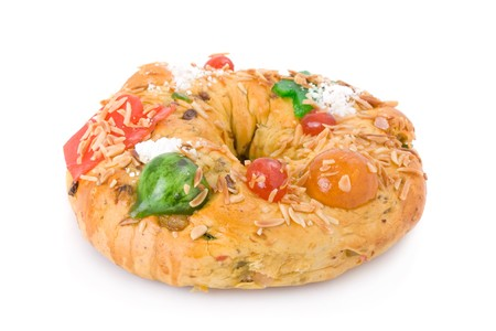rei: Traditional Portuguese Christmas cake, called Bolo Rei, made with candied fruits Stock Photo