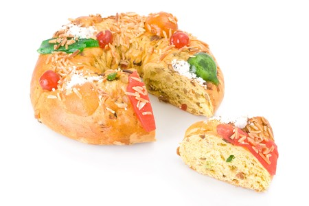 rei: Sliced traditional Portuguese Christmas cake, called Bolo Rei, made with candied fruits