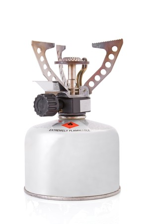 canister: portable camping stove with a butanepropane gas canister Stock Photo