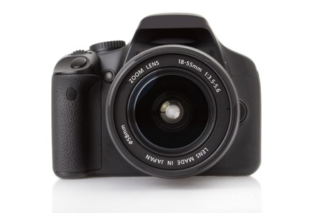 reflexes: Digital slr isolated on a white background