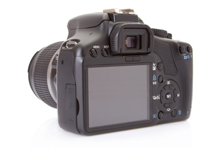 megapixel: Back of a digital slr isolated on a white background