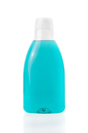 mouthwash: Mouthwash bottle isolated on a white background Stock Photo