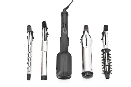 Hair styling set with straightener and curling accessories
