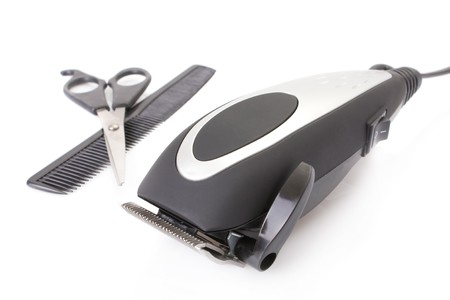 modern electric hair  beard trimmer with scissors and comb  photo