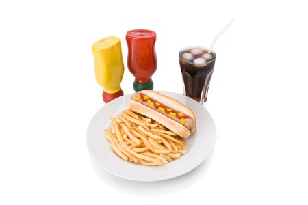 Fast food meal with Hotdog, French fries and a Cola in a dish  photo