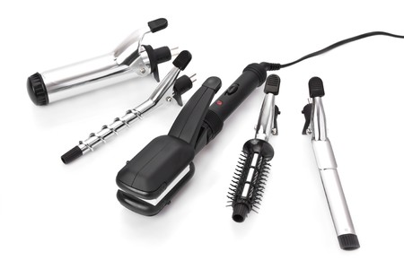 Hair styling set with straightener and curling accessories photo