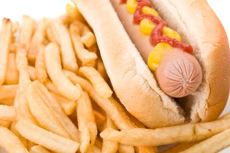 Fast food meal with Hotdog and French fries in a dish  Stock Photo