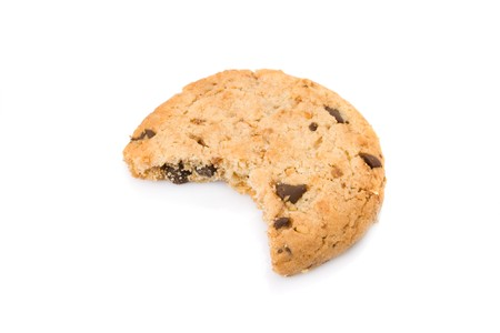Bitten chocolate chip cookies isolated on white background photo