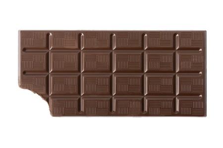 candy bar: Bitten dark chocolate bar isolated on white background