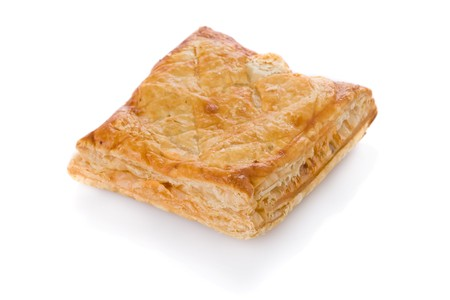 flaky: Puff pastry (sweet or salted)  isolated on white background