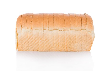 bread slice: Sliced loaf of bread isolated on white background Stock Photo
