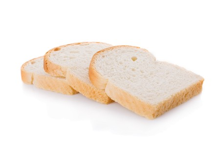 fresh slice of bread: Three bread slices isolated on white background Stock Photo