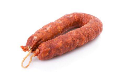 Iberian chorizo, from Barrancos - Alentejo region, Portugal (Chouriço) - isolated on white photo