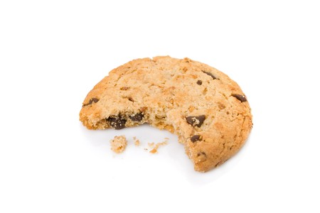 bitten: Bitten chocolate chip cookies isolated on white background