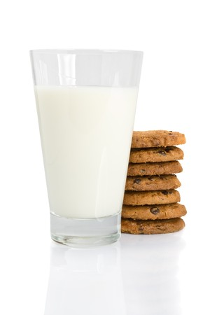 Chocolate chip cookies and a glass of milk isolated on white Stock Photo - 4470422