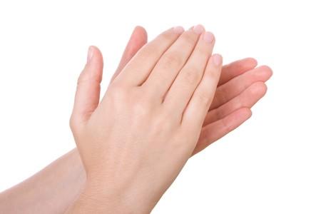 aplaudiendo: Manos aplaudiendo aisladas sobre fondo blanco